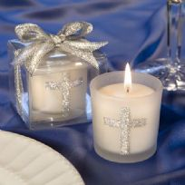 Silver Cross Candle Favour